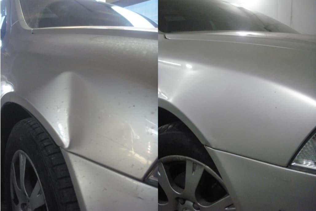 Фото до и после удаления вмятины на автомобиле