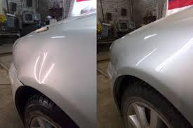 Фото до и после удаления вмятины на авто