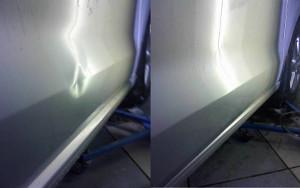 Фото до и после удаления вмятины