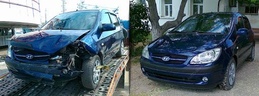 Фото до и после восстановления геометрии авто